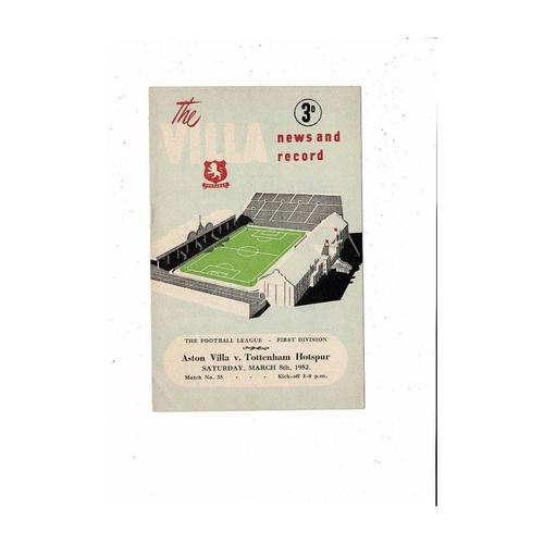 1951/52 Aston Villa v Tottenham Hotspur Football Programme