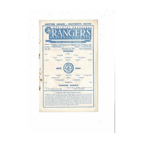 1959/60 Rangers v Stirling Albion Football Programme