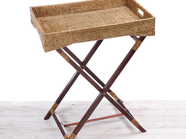 Rattan Butler Tray with wooden Legs - 65 x 45 x 75cm Hand Woven in Burma