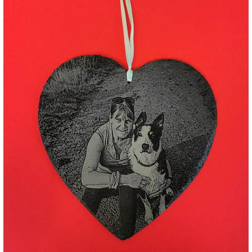 Heart shaped slate engraved with your favourite photo