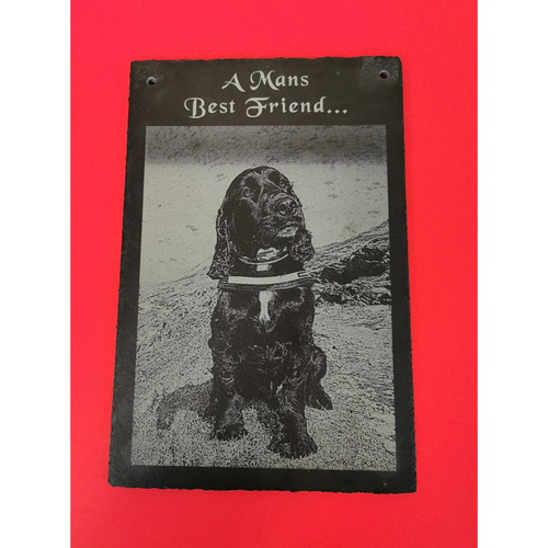Mans best friend slate with photograph