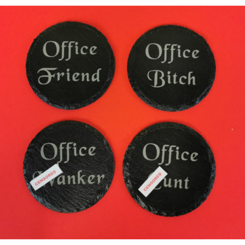 Slate Coasters Insulting, sweary great for secret santa gift Set of four