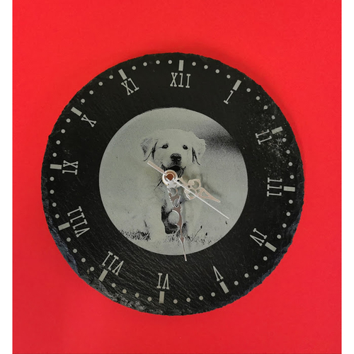 Slate clock with your own favourite photo engraved in the centre.
