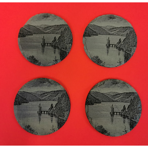 Slate coasters with a scene from Lake Vyrnwy Mid Wales engraved on them Set of 4