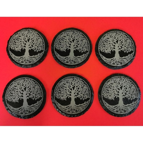 Personalised engraved slate drinks coasters set of six