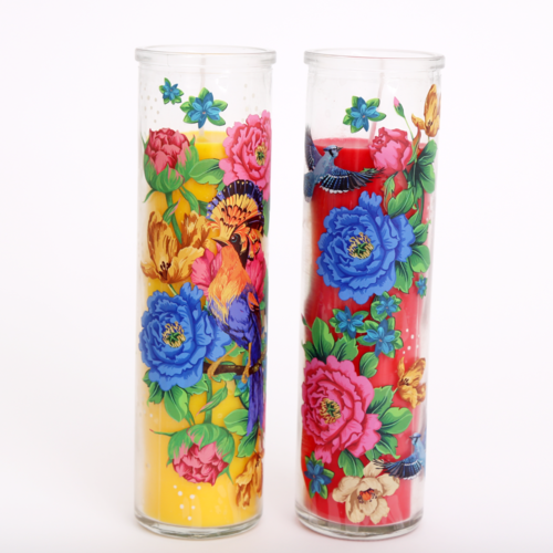 Mexican Floral Pillar Candle Pot
