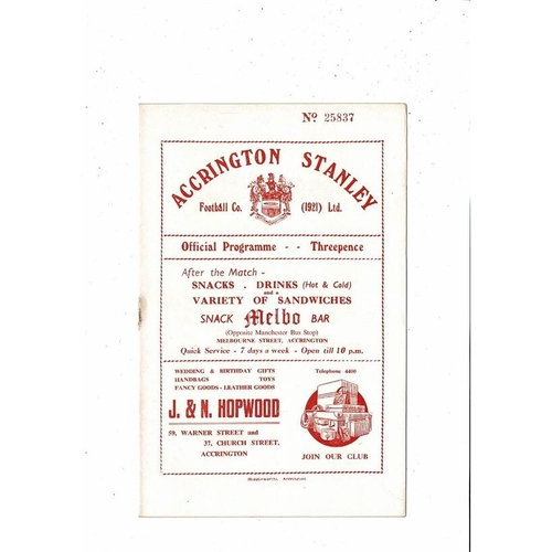 Accrington Stanley v Blackburn Rovers Friendly Football Programme 1954/55