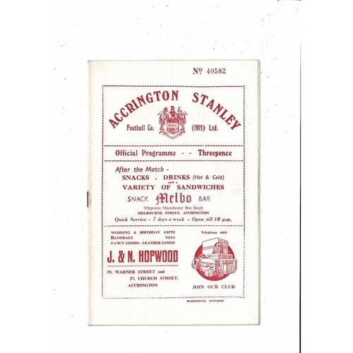 Accrington Stanley v East Fife Friendly Football Programme 1954/55