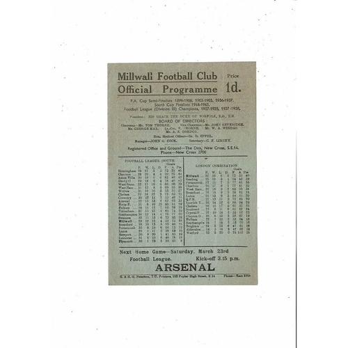 1945/46 Millwall v Aston Villa Football Programme