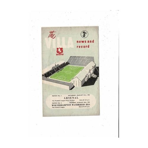 1952/53 Aston Villa v Arsenal & Wolves Reserves Double Football Programme