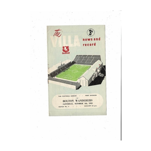 1952/53 Aston Villa v Bolton Wanderers Football Programme