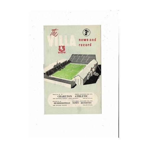 1952/53 Aston Villa v Charlton & Huddersfield Reserves Double Football Programme