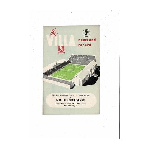 1952/53 Aston Villa v Middlesbrough FA Cup Football Programme