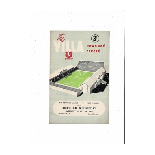 1952/53 Aston Villa v Sheffield Wednesday Football Programme