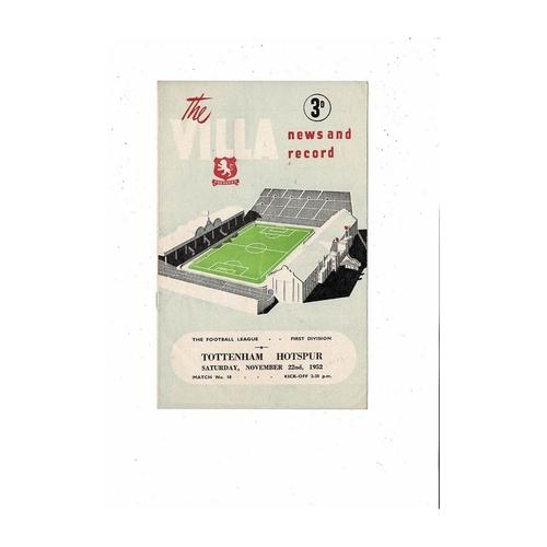 1952/53 Aston Villa v Tottenham Hotspur Football Programme