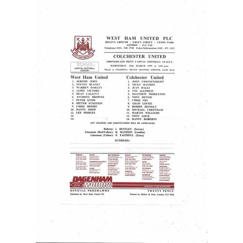 Reserves Football Programmes