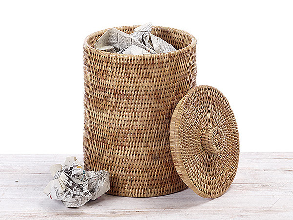 Round Paper Bin  with Rattan Knock Lid
