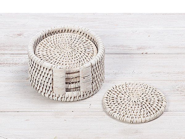 Set of 6 rattan round coasters with holder