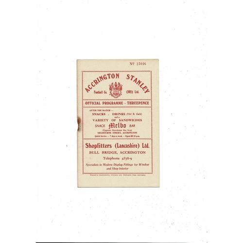 1956/57 Accrington Stanley v Carlisle United Football Programme