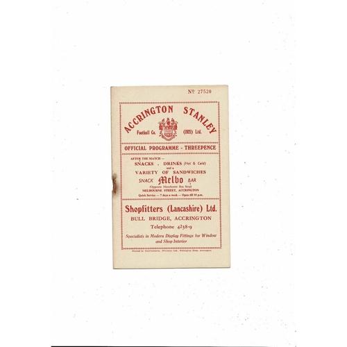 1956/57 Accrington Stanley v Crewe Alexandra Football Programme