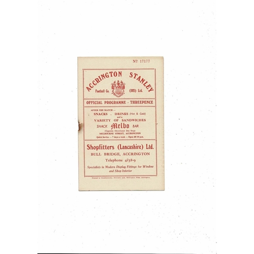 1956/57 Accrington Stanley v Gateshead Football Programme