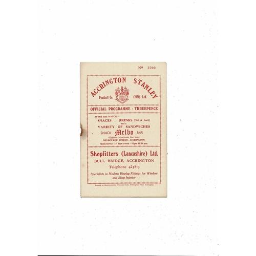 1956/57 Accrington Stanley v Barrow Football Programme