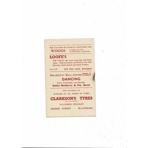 1956/57 Accrington Stanley v Chesterfield Football Programme