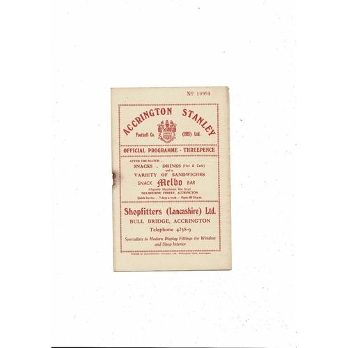 1956/57 Accrington Stanley v Darlington Football Programme