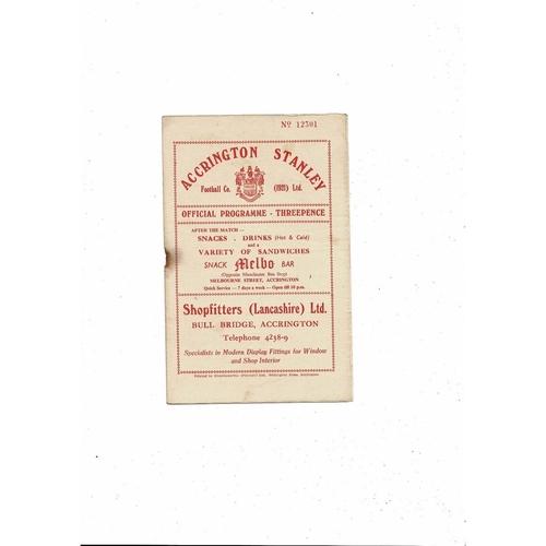1956/57 Accrington Stanley v Halifax Town Football Programme