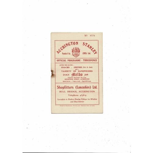1956/57 Accrington Stanley v Hartlepool United Football Programme