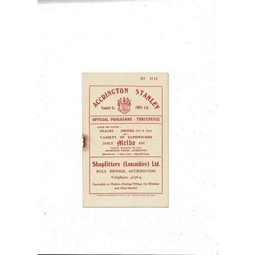 1956/57 Accrington Stanley v Mansfield Town Football Programme
