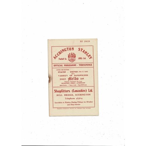 1956/57 Accrington Stanley v Oldham Athletic Football Programme