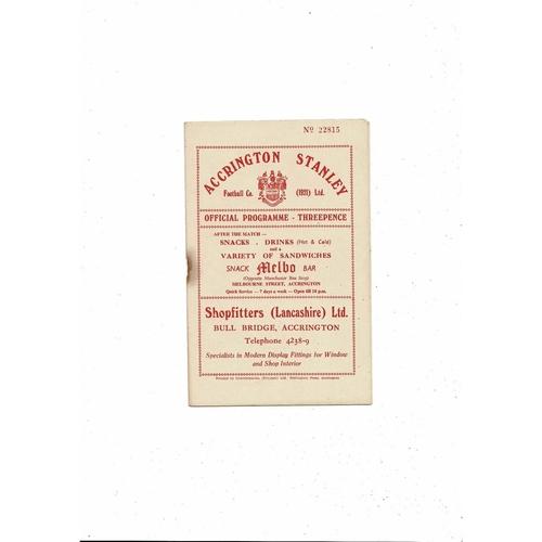 1956/57 Accrington Stanley v Southport Football Programme