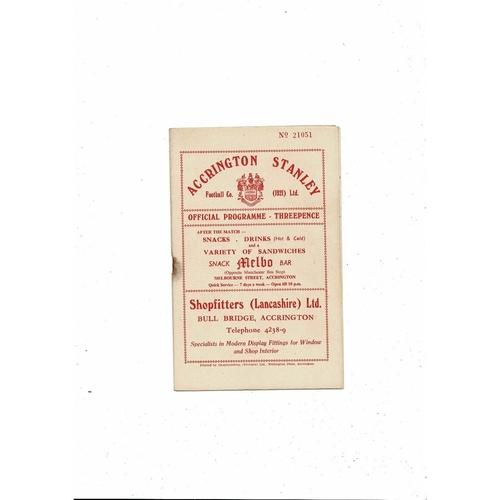 1956/57 Accrington Stanley v Scunthorpe United Football Programme