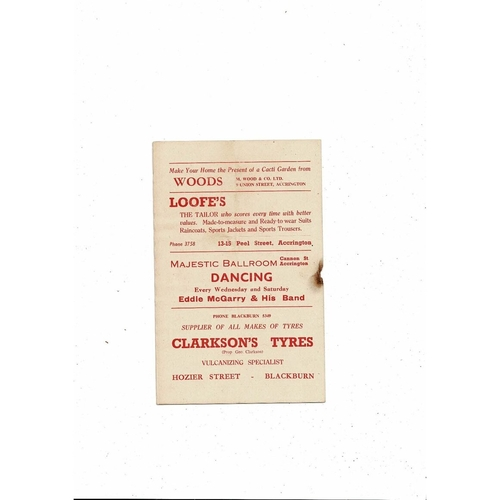 1956/57 Accrington Stanley v Tranmere Rovers Football Programme