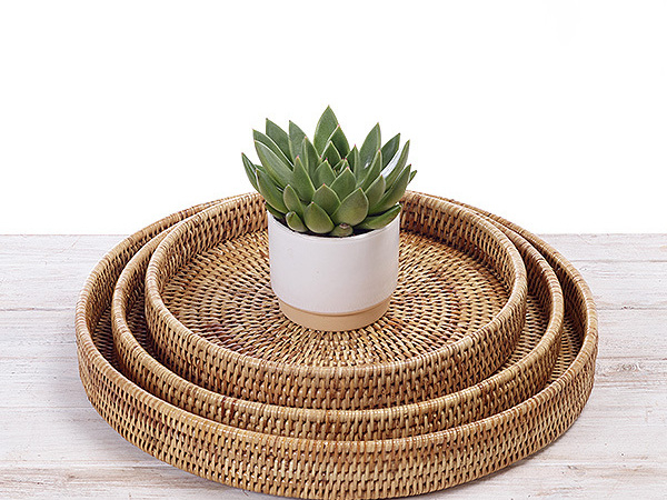 Rattan  round serving tray/ Platter   -  Hand Woven in Burma.