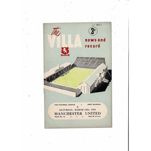 1953/54 Aston Villa v Manchester United Football Programme