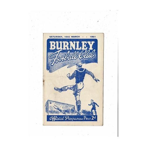 1950/51 Burnley v Sunderland Football Programme