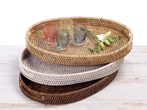 Rattan Oval  Tray with Insert Handle