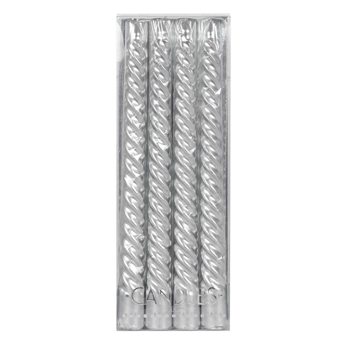 4 x Silver Twist Taper Candles