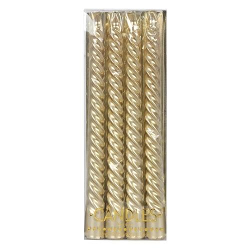 4 x Gold Twist Taper Candles