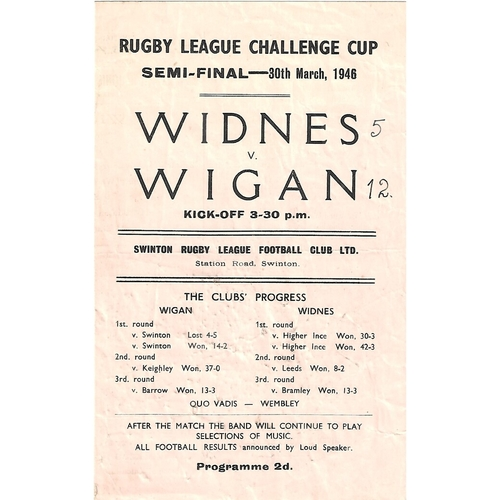 1946 Widnes v Wigan Rugby League Challenge Cup Semi Final Programme