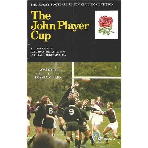 1976 Gosforth v Rosslyn Park John Player Cup Final Rugby Union Programme