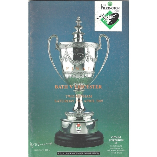 1989 Bath v Leicester Pilkington Cup Final Rugby Union Programme