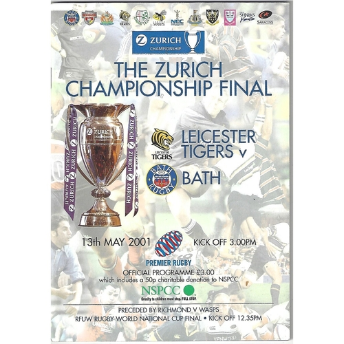 2001 Leicester Tigers v Bath The Zurich Championship Final Rugby Union Programme