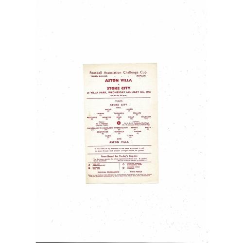1957/58 Aston Villa v Stoke City FA Cup Replay Football Programme