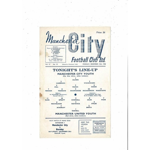 Manchester City v Manchester United FA Youth Cup Football Programme 1958/59