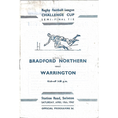 1947 Bradford Northern v Warrington Rugby League Challenge Cup Semi Final Programme