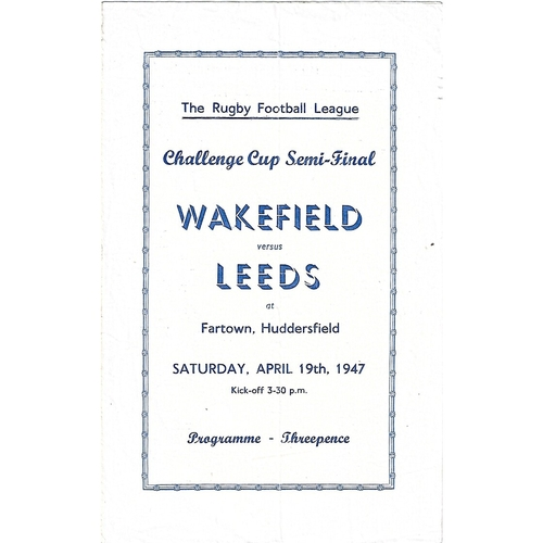 1947 Wakefield Trinity v Leeds Rugby League Challenge Cup Semi Final Programme