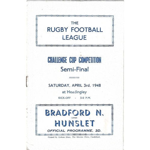 1948 Bradford Northern v Hunslet Rugby League Challenge Cup Semi Final Programme